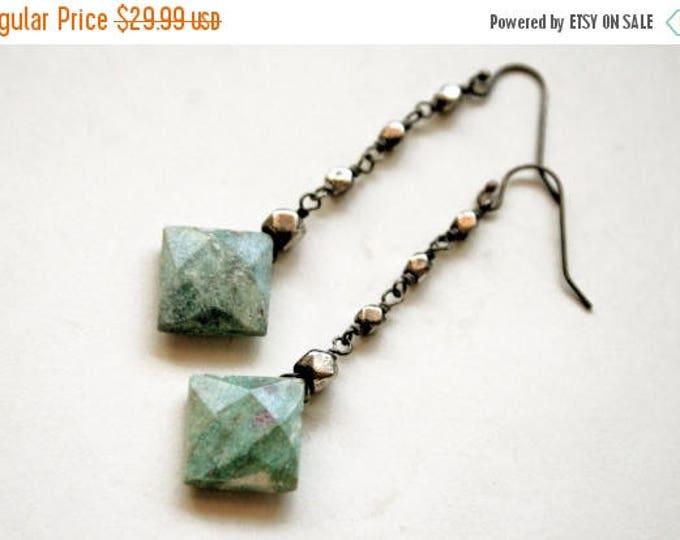 GIFT SALE Ruby Fuchsite Dangle Earrings // Green Fuchsite Drop Earrings