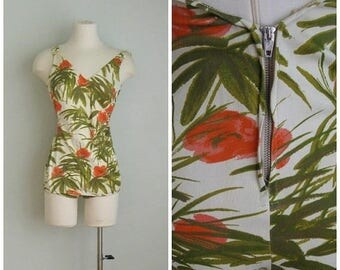 Summer Clearout Vintage 1960's Tropical Print Bathing Suit