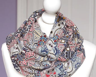 Infinity scarf // Blue pink Snood fabric