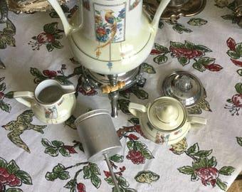 Vintage Art Deco Frauenfelter-Samovar-Coffee Pot-Colorful Golden Pheasant/Peacock-Ivory/Silverplate-Creamer/Sugar Bowl