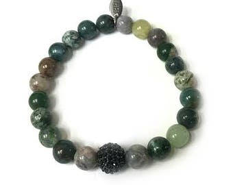 SALE 6mm Bracelet | Green & Black