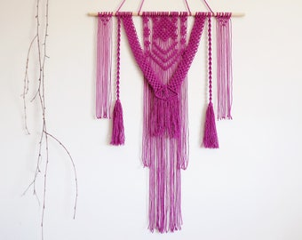 Macrame tapestry, wall hanging, wall decor, purple, boho, bohemian, makrame, boho home, wall tapestry, modern macrame, room decor, fiber art