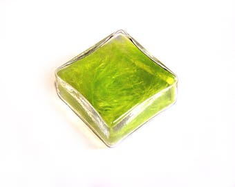 Globe square 25 mm glass filled with lime green feathers