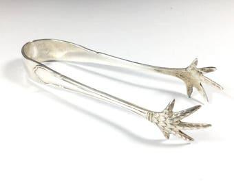 Vintage silver plated sugar tongs, EPNS sugar nips, Claw design