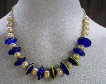 Maize and blue U of M disc and pearl necklace, Universery/College Jewelry, Vintage Recycled/Upcycled, Free USA shipping,Made in USA/MI