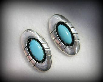 """Vintage ZUNI Corrine and Porfilio Sheyka SHADOWBOX Earrings --- Sterling and Turquoise, Over 1"""" long, 7.2g Total, Gorgeous Color"""