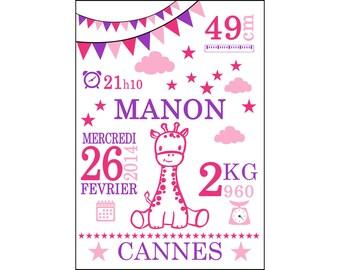 Affiche 30x40cm Cadeau de Naissance Personnalisé - éléphant, girafe, renard, ou autre animal.