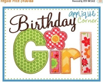 50% Off Birthday Girl applique design in digital format for embroidery machine by Applique Corner
