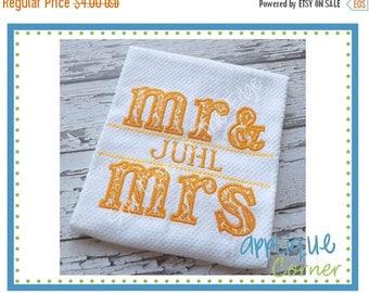 50% Off Mr. & Mrs. Split Design applique digital design for embroidery machine by Applique Corner