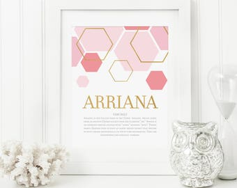 Gold Nursery Art - Name Meaning Art - Name Meaning Baby - Baby Room Name Art - Personal Baby Gift - Personalized Baby Gifts - Gold Hexagons