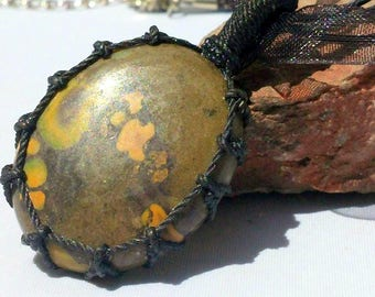 Handsome Indian Azurite Necklace/Pendant in a Macrame Wrap