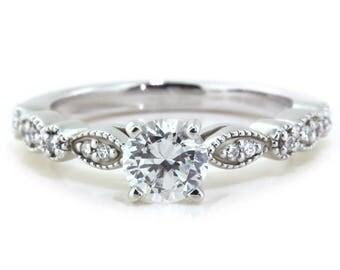 Vintage Style Engagement Ring Moissanite Side Stones Moissanite Center Palladium  - Name Sweet Bliss