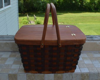 Pie carrier tote basket picnic basket handles Cherry wood