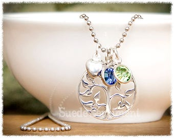 Mom Jewelry Birthstone • Tree of Life Necklace • Mother Necklace • Family Tree Jewelry • Grandmother Gift