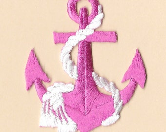 Anchor - Nautical - Pink Anchor W/White Rope - Embroidered Iron On Patch