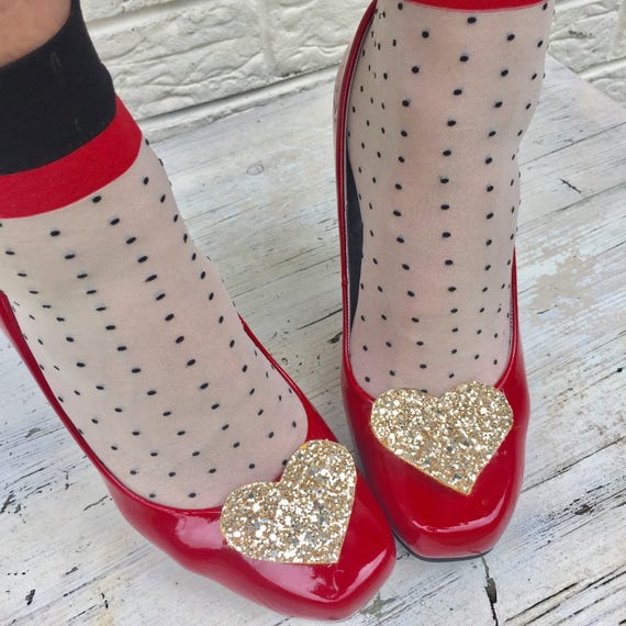 Glitter Heart Shoe Clips Gold Rockabilly Pinup Wedding Bridal Hen Party