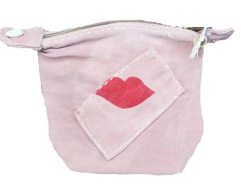 Ali Lamu Small Clutch Pink LIPS Red