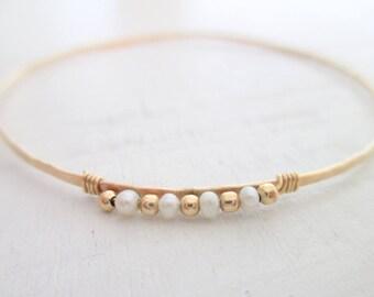 Gold pearl bracelet, gold bangle bracelet, bridal bracelet, stacking bangle, skinny hammered bangle bracelet, wedding jewelry