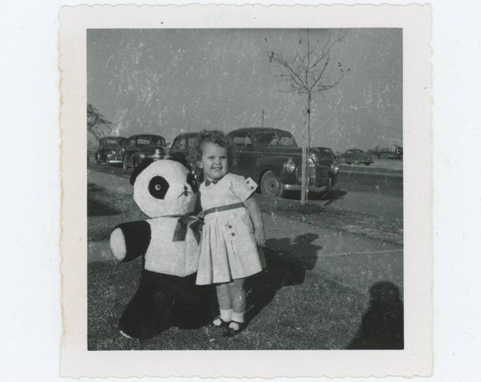 Vintage Snapshot Photo: Small Girl with Large Stuffed Panda Bear, c1950s [82653]