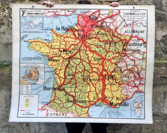 """The France of railways"" vintage school map from the 50s - Vidal Lablache - school geography"