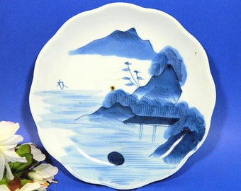 Antique Japanese Hand Painted Sometsuke Plate Blue and White