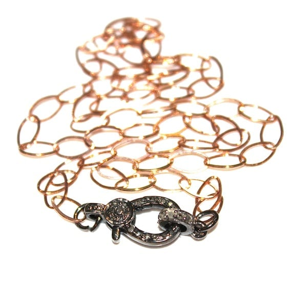 Rose and Black Gold Diamond Lock Necklace
