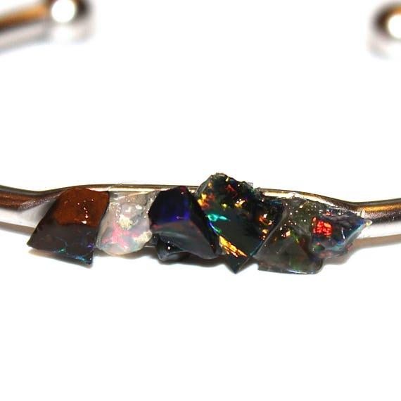 Raw Black Opal Cuff Bracelet