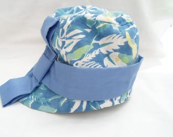 Blue cotton cloche hat