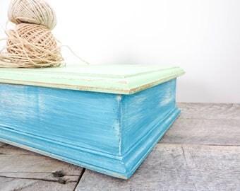 Upcycled Storage Box - Mint Green and Aqua - Memory Box - Tea Box