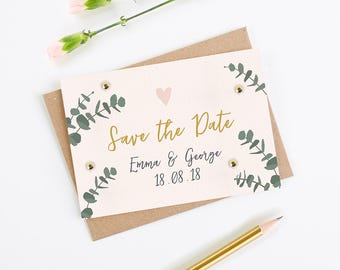 Leafy Blush Folded Save the Date