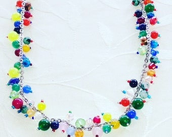 Rainbow Necklace Agate Beads And Sterling Silver Adjustable Length Handmade Jewelry By NorthCoastCottage Jewelry Design & Vintage Treasures