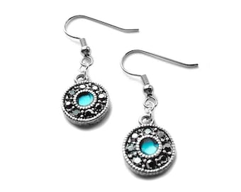 Teal and Black Earrings, Sparkly Jewelry, Resin Jewelry, Round Dangle Earrings, Gift Ideas for Mom,
