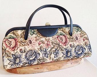 Huge Amazing Vintage Tapestry Purse Carpet Bag Mid Century