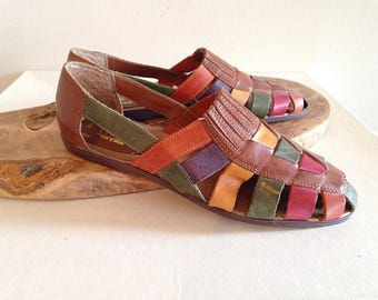 Vintage 1980s 1990s Colorful Open Flats Summer Sandals Huaraches Ladies Size 8