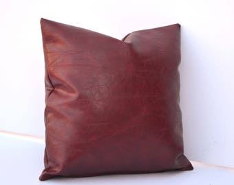 Red Faux Leather Pillow Cover