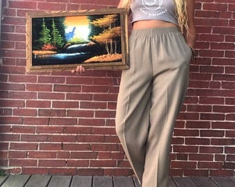 80s linen flood pants