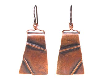 "Textured Copper ""Tectonics"" New Madrid Earrings"