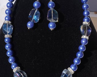 Blue Anoley Rhinestone Necklace Set