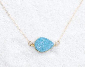 Natural LIght Blue Druzy Necklace