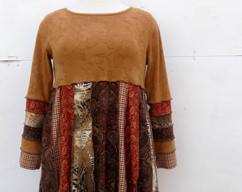 Recycled Tshirts Tunic - Babydoll Top - Autumn Earth Tones Clothing - Fall Fashion for Women - Urban Gypsy - Upcycled Unique Apparel