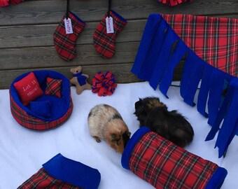 Christmas tartan pet accessories and decorations for guinea pigs, degus, chinchilla, hedgehog, sugar glider