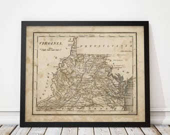 Old Virginia and West Virginia Map Art Print 1816 Antique Map Archival Reproduction