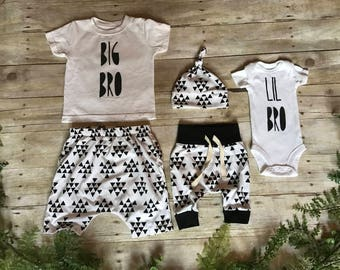 CUSTOM BABY BEAR Little Brother Big Brother Newborn Boy Take Home Outfit / Newborn Boy Coming Home Outfit /