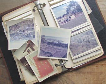 Retro Photo Album with Old Photographs Vintage Vacation Pictures