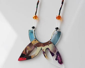 unique butterfly painted plexiglass and beads necklace, colorful, statement jewelry
