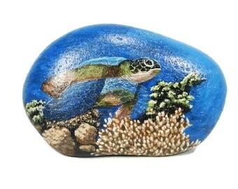 Sea Turtle hand painted rock, ocean, Galapagos Islands, blue, underwater, RocksOK painted rocks