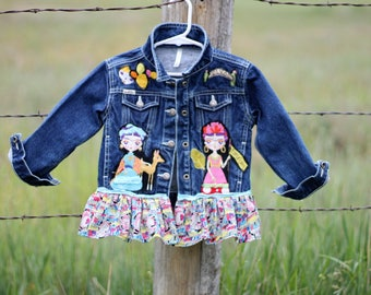 Frida Kahlo Girls Upcycled Jean Jacket Funky Boho Size Small Child's Denim Top by Reloved Clothing Co