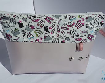 Toiletry or makeup bag handmade in powder pink faux leather