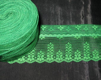 Green Lace Trim, Christmas Wide Sewing Lace Stiff Trimming Embellishment 8 yards 3 inch wide