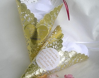 Wedding Petal Cone Gold Paper Lace Metallic w Custom Personalized Label Birdseeed or Flower Petal Toss Doily Cone Custom Doily Petal Cones